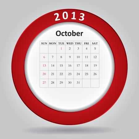 Modern monthly calendar for October, 2013