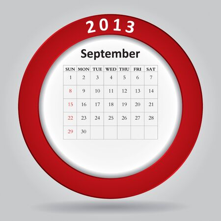Modern monthly calendar for September, 2013  Vector