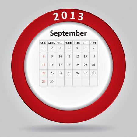 Modern monthly calendar for September, 2013 Stock Vector - 16613643