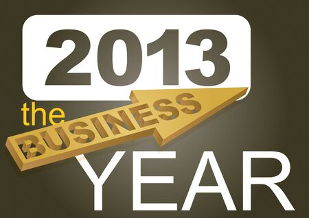 financial year: 2013 the business year - card concept Illustration
