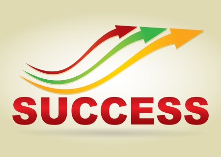 Sign of success, text with color arrows Vector