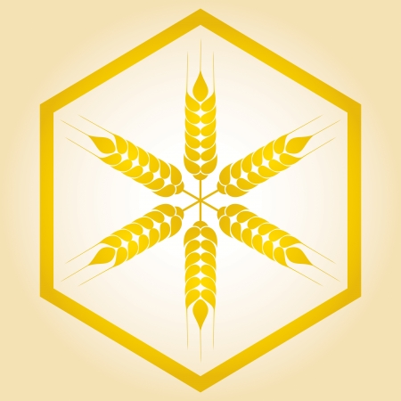 clip art wheat: Grain ears with hexagon, abstract illustration