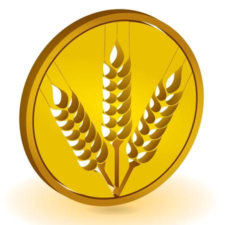 siluet: Grain ears with circle, abstract illustration Illustration