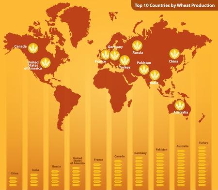 Top Ten Wheat Producing Countries Stock Vector - 17533209