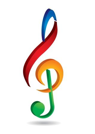 chiave di violino: Chiave di violino - astratto illustrazione colorata con sfondo