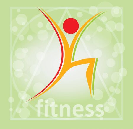 Fitness, aerobic symbol - illustration with abstract background