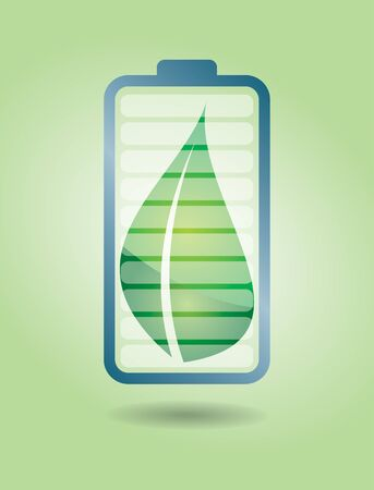 Green Energy, ecological battery with leaf  Illustration