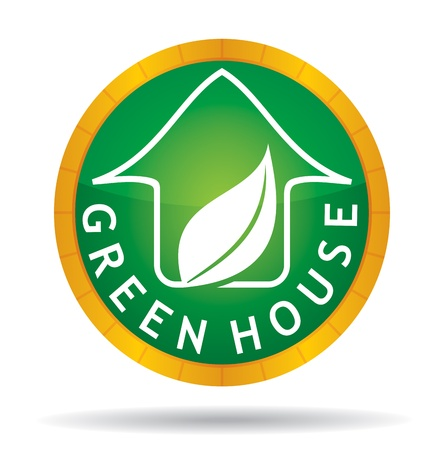 Green house icon with leaf - abstract illustration with background Stock Vector - 18439136