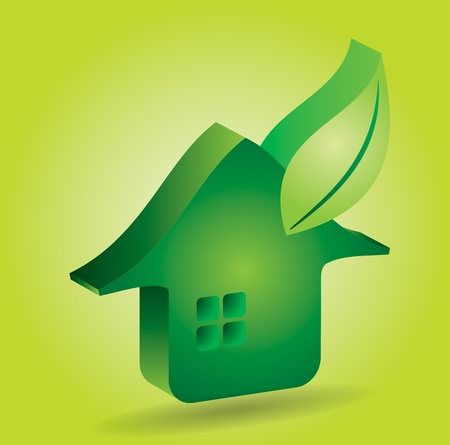 Green house icon with leaf - abstract illustration with background Stock Vector - 18439137