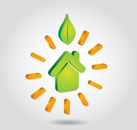 Green house icon with leaf - abstract illustration with background  Vector
