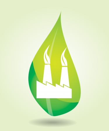 refinery engineer: Industrial pollution sign with green leaf  Illustration