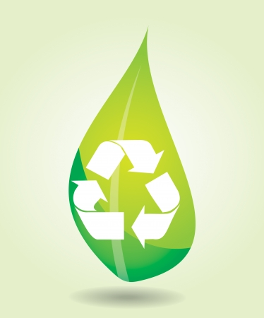 Recycling icon - environmental conception with leaf Stock Vector - 19929692