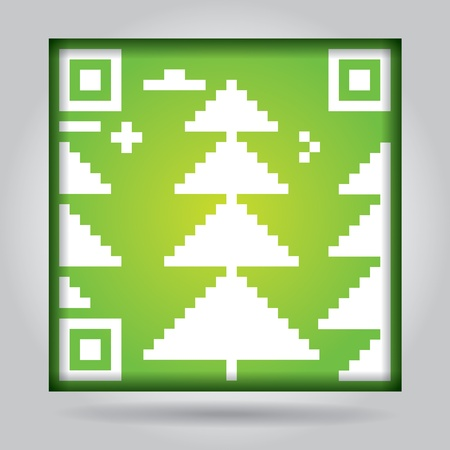 Qr code with abstract pine - ecology concept Stock Vector - 20482978
