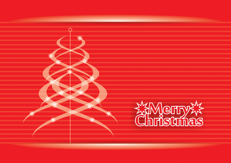 Christmas greeting card - template with abstract pine tree Vector