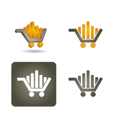 shoping: Vector icon set  with shoping car