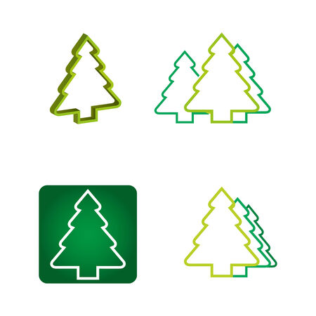 Ecology concept - abstract illustration with pine tree icon