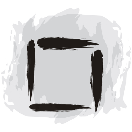 flaw: Hand drawing abstract illustration with black square sign