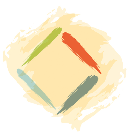 flaw: Hand drawing abstract illustration with color square sign Illustration