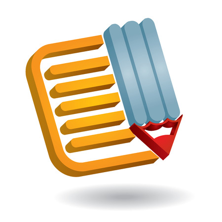 Note paper - abstract communication icon, with document and pen