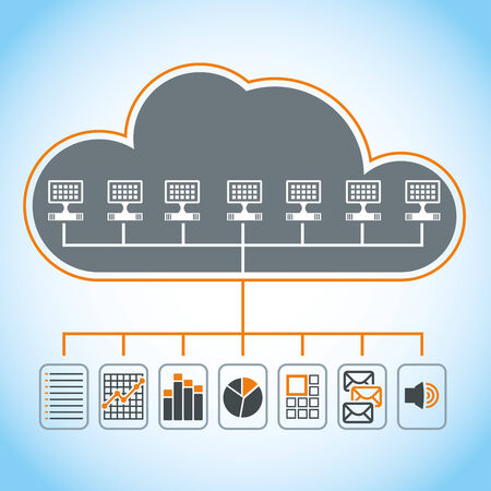 communication concept: Cloud computing - communication concept with document icons  Illustration