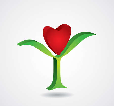 hearth: Abstract flower with hearth symbol Illustration
