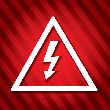 echnology: Electricity danger sign with abstract red background