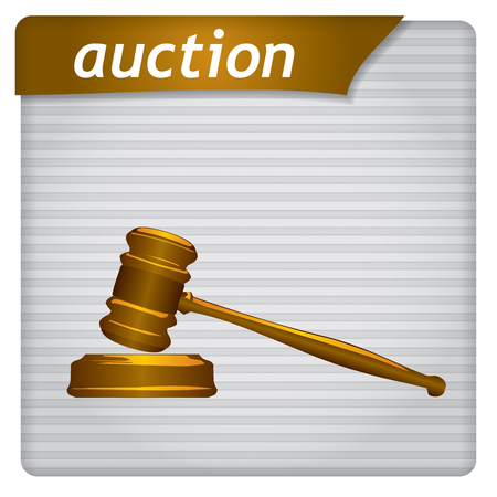 auctioneer: Presentation template - business concept with auction sign