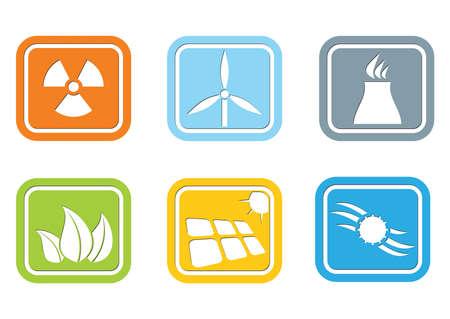 energy industry: Flat design – energy industry icon set Illustration