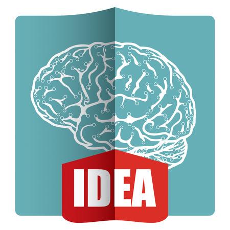 Innovative idea - template with abstract human brain illustration Vector