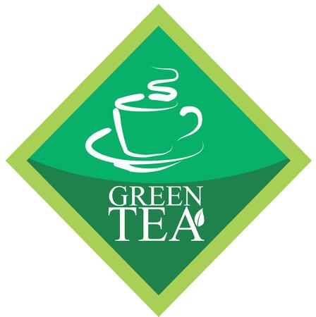 Green tea, alternative medicine label concept with cup