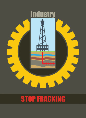 fracking: Shale drill rig, anti hydraulic fracturing illustration