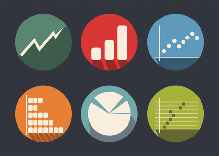 quoted: Graph of development, abstract flat color icon set Illustration