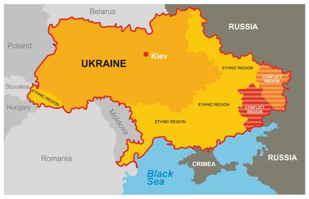 A dividida Ucrania - mapa de la región del conflicto y las regiones étnicas