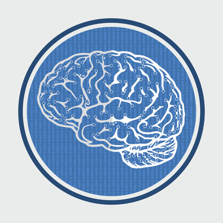 Brain icon, concept of innovative ideawith abstract background Vector