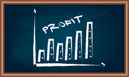 succes: Profit growth diagram on chalkboard with hand drawing illustration Illustration