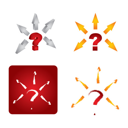 projekt: Question mark icon set, abstract illustration with arrows