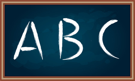 pedagogy: Hand drawing letters on chalkboard, abstract illustration Illustration