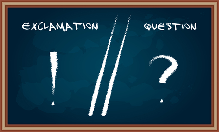 declarative: Hand drawing Question and Exclamation sign on chalkboard  Illustration