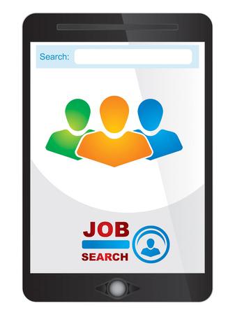 Job finder application screen on tablet screen Vector