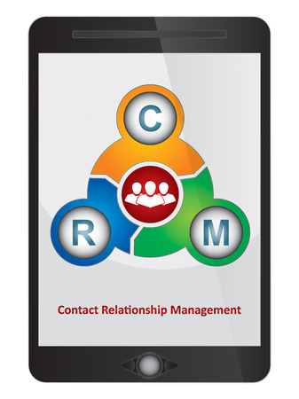 relationship management: Contact Relationship Management software diagram on tablet screen