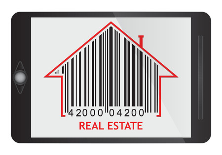 Real estate concept with house and bac code icon on tablet screen Vector