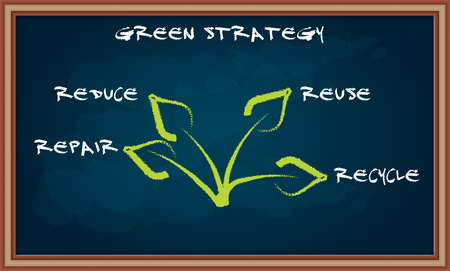 Ecological strategy - abstract illustration with leaf on chalkboard Vector