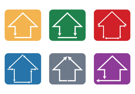 Building and house icon, abstract illustration on color background Vector