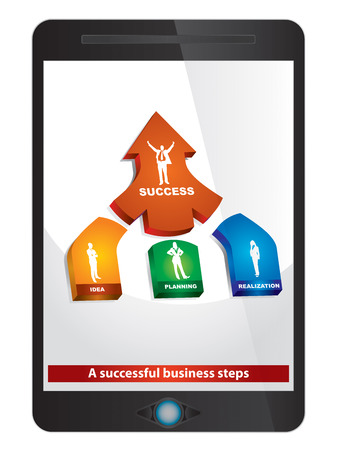 A successful business steps, abstract illustration on tablet screen Vector