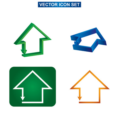 Color building and house icon set Vector