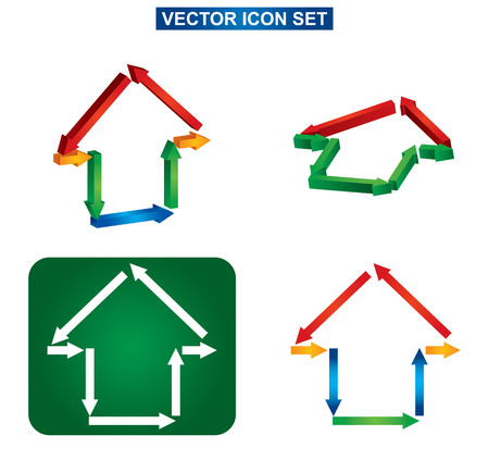 Color building and house icon set, abstract illustration on white background Vector