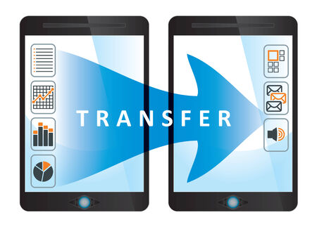 communication concept: Transfer, communication concept with tablet and documents icon