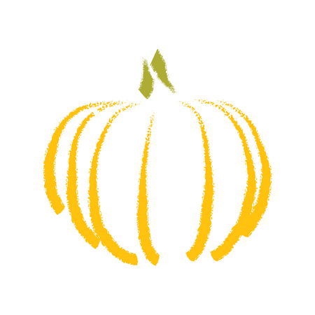 Hand drawing pumpkin, abstract illustration on white background