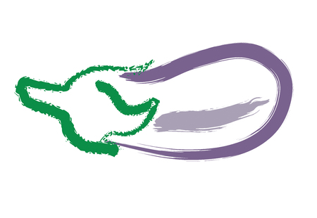 Hand drawing eggplant, abstract illustration on white background