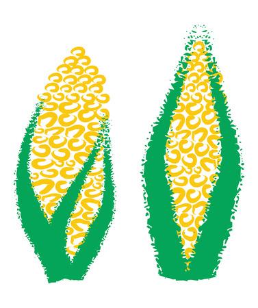 disegno a mano: Disegno a mano grano, mais, astratto illustrazione su sfondo bianco Vettoriali